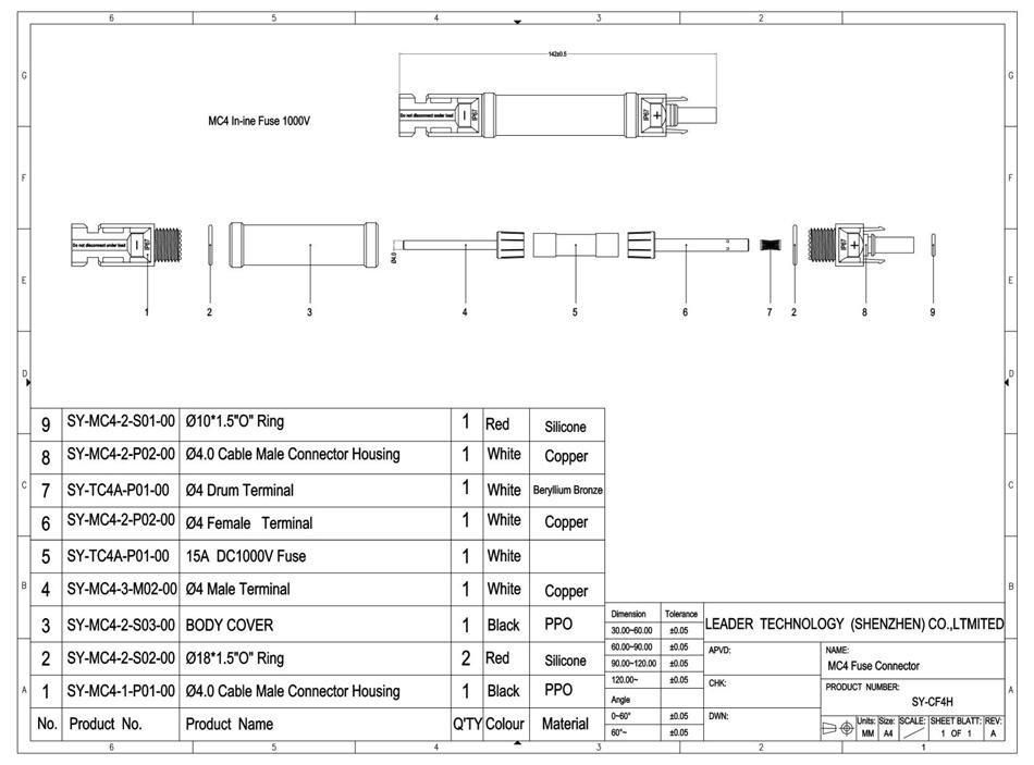 MC4 In-line Fuse Connector